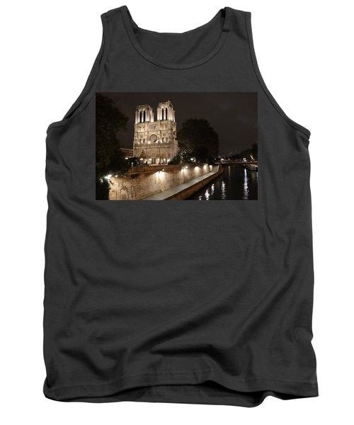 Tank Top featuring the photograph Notre Dame Cathedral From Petit Pont by Christopher Kirby