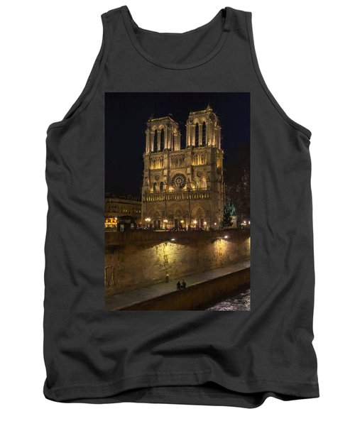 Tank Top featuring the photograph Notre Dame Night Painterly by Joan Carroll