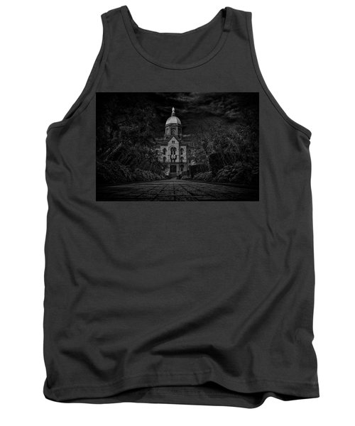 Tank Top featuring the photograph Notre Dame University Golden Dome Bw by David Haskett