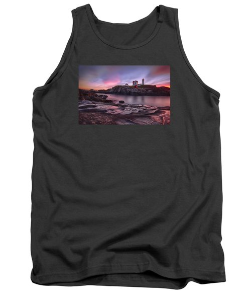 Nubble Lighthouse At Sunrise York Me Tank Top by Betty Denise