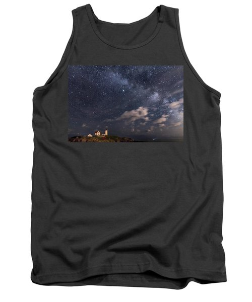 Nubble Lighthouse Under The Milky Way Tank Top