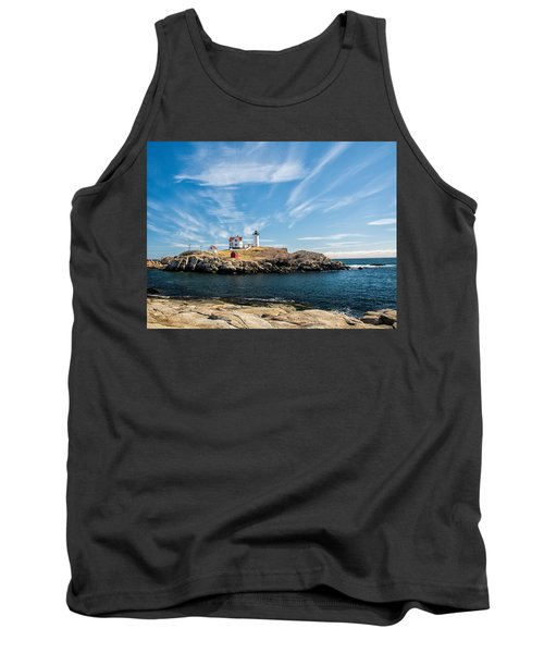 Tank Top featuring the photograph Nubble Lighthouse With Dramatic Clouds by Nancy De Flon