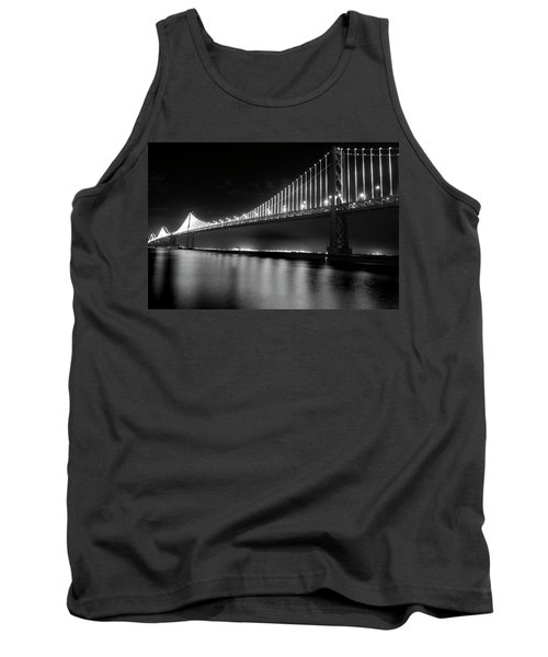 Tank Top featuring the photograph Oakland Bay Bridge At Night by Darcy Michaelchuk