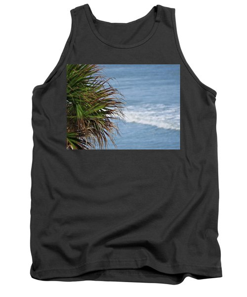 Ocean And Palm Leaves Tank Top by Kathy Long
