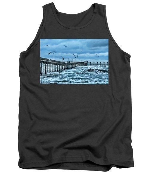 Ocean Beach Fishing Pier Tank Top by Daniel Hebard