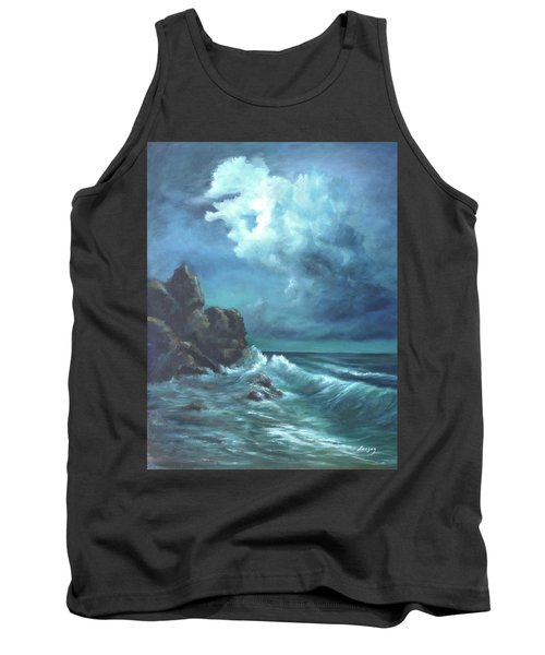 Tank Top featuring the painting Seascape And Moonlight An Ocean Scene by Luczay
