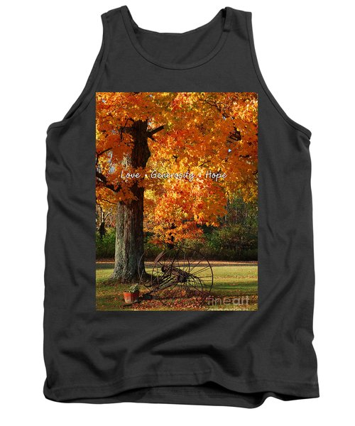 Tank Top featuring the photograph October Day Love Generosity Hope by Diane E Berry