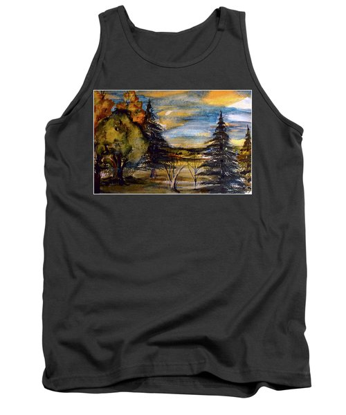 Tank Top featuring the painting Ohio Sunset by Mindy Newman