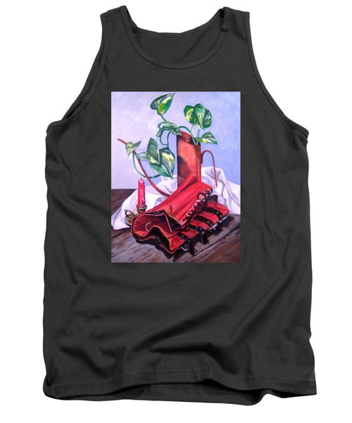 Tank Top featuring the painting Oil Can And Corset by Laura Aceto