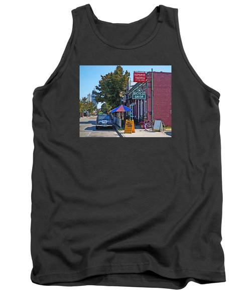 Ok Bicycle Yellow Sign Tank Top by Michael Thomas