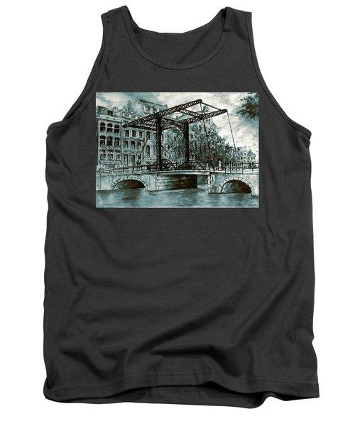 Old Amsterdam Bridge In Dutch Blue Water Colors Tank Top