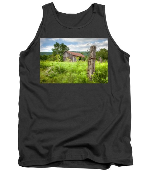 Tank Top featuring the photograph Old Barn Near Stryker Rd. Rustic Landscape by Gary Heller