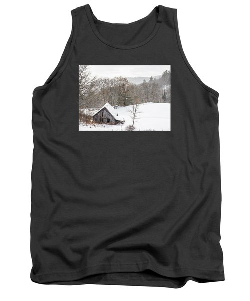 Old Barn On A Winter Day Wide View Tank Top