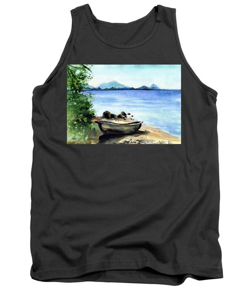Tank Top featuring the painting Old Carved Boat At Lake Malawi by Dora Hathazi Mendes