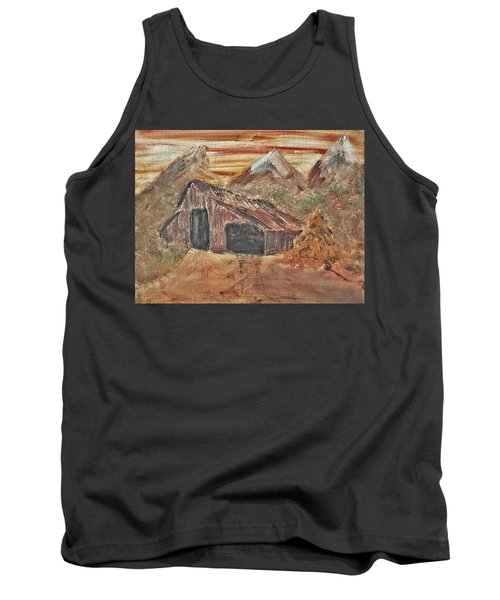 Old Farmhouse With Hay Stack In A Snow Capped Mountain Range With Tractor Tracks Gouged In The Soft  Tank Top