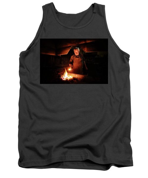 Old-fashioned Blacksmith Heating Iron Tank Top