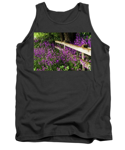 Old Fence And Purple Flowers Tank Top