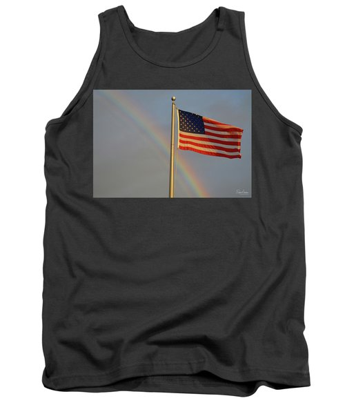 Old Glory And Rainbow Tank Top