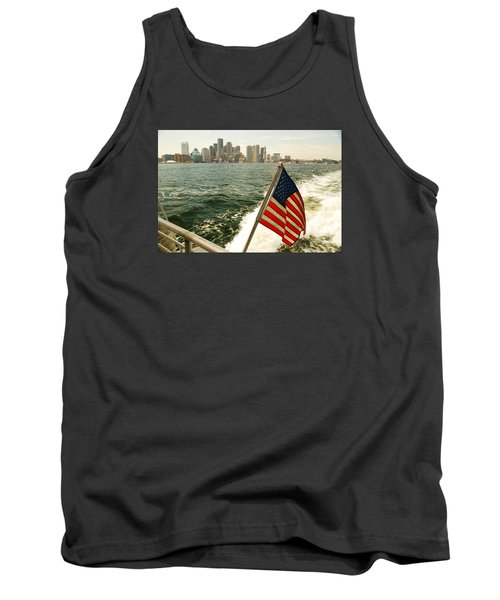 Tank Top featuring the photograph Old Glory On Boston Harbor by James Kirkikis