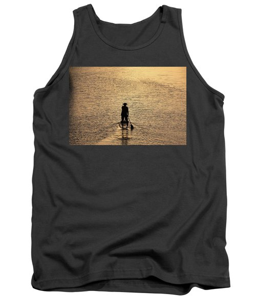 Old Man Paddling Into The Sunset Tank Top