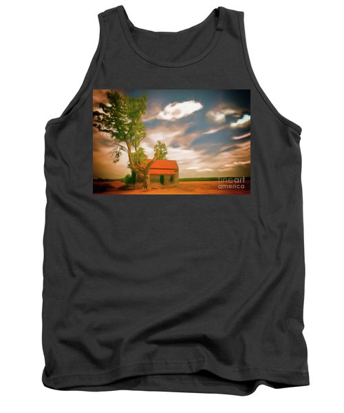 Old Rustic Vintage Farm House And Tree Ap Tank Top by Dan Carmichael