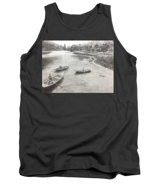 Tank Top featuring the drawing Old Time Camp Days by Mary Lynne Powers
