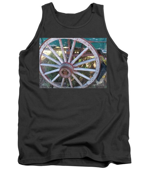 Tank Top featuring the photograph Old Wagon Wheel by Dora Sofia Caputo Photographic Art and Design