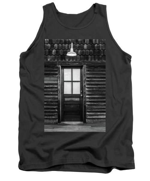 Tank Top featuring the photograph Old Wood Door And Light Black And White by Terry DeLuco