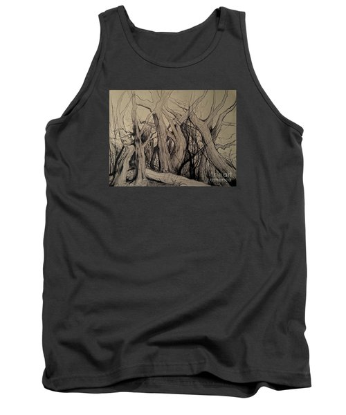 Tank Top featuring the painting Old Woods by Maja Sokolowska