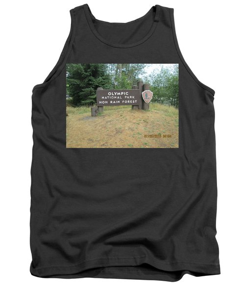 Tank Top featuring the photograph Olympic Park Sign by Tony Mathews