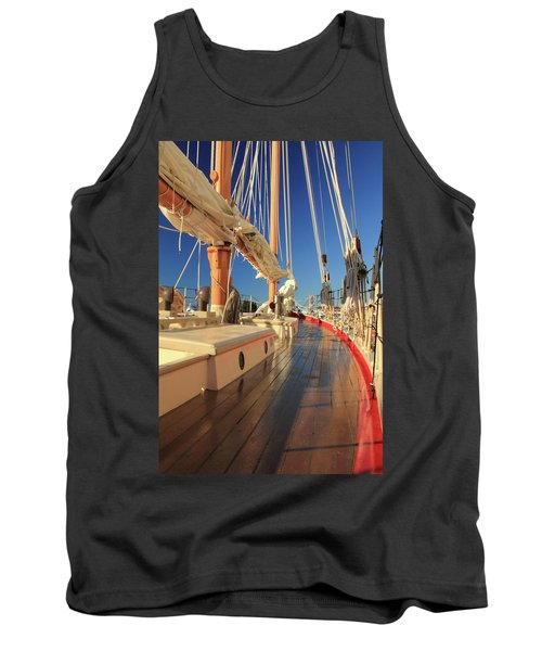 On Deck Of The Schooner Eastwind Tank Top by Roupen  Baker