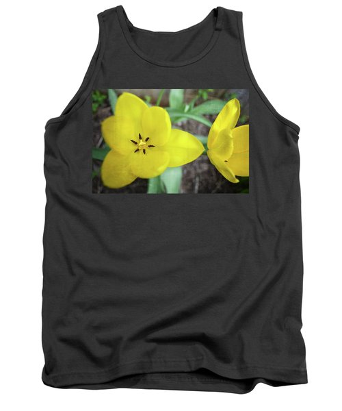 One And A Half Yellow Tulips Tank Top by Michelle Calkins