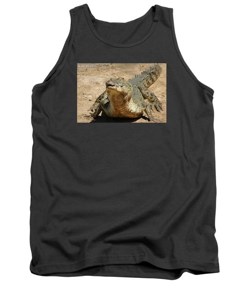 Tank Top featuring the photograph One Crazy Saltwater Crocodile by Gary Crockett