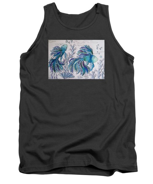 One Fish, Two Fish, Lilac Green And Blue Fish Tank Top by Megan Walsh