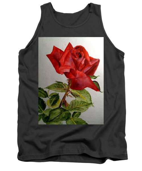 One Single Red Rose Tank Top