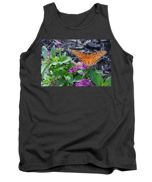 Open Wings Of The Gulf Fritillary Butterfly Tank Top
