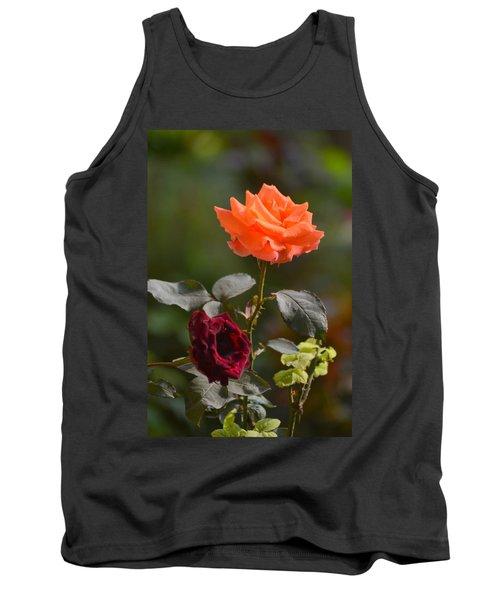 Orange And Black Rose Tank Top