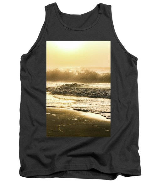 Tank Top featuring the photograph Orange Beach Sunrise With Wave by John McGraw