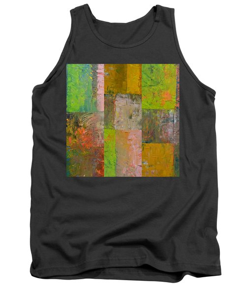 Tank Top featuring the painting Orange Green And Grey by Michelle Calkins