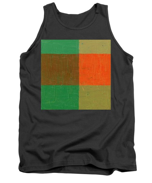 Orange With Brown And Teal Tank Top by Michelle Calkins