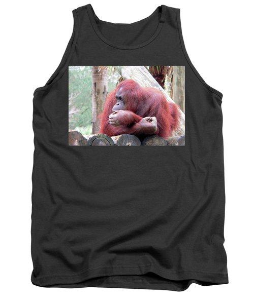 Orangutang Contemplating Tank Top by Rosalie Scanlon