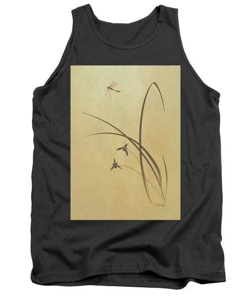 Orchid And Dragonfly Tank Top