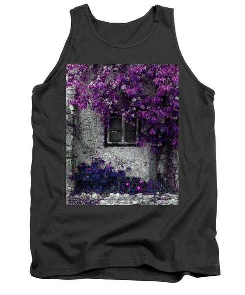 Orchid Vines Window And Gray Stone Tank Top