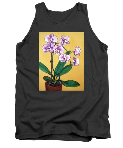 Tank Top featuring the painting Orchids by Laura Aceto