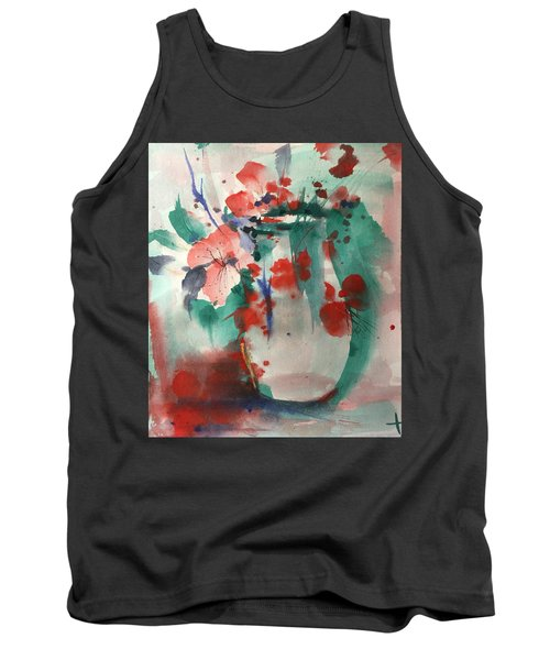 Oriental Brush Flowers And Vase Tank Top
