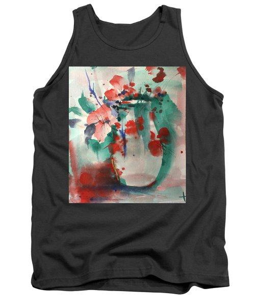 Oriental Brush Flowers And Vase Tank Top