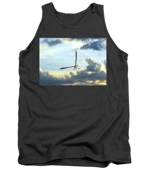 Osprey Flying In Clouds At Sunset With Fish In Talons Tank Top