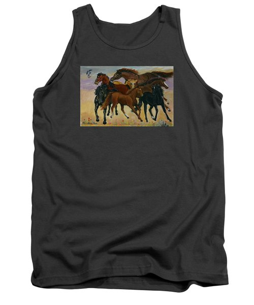 Tank Top featuring the painting Our Horses by Dawn Senior-Trask