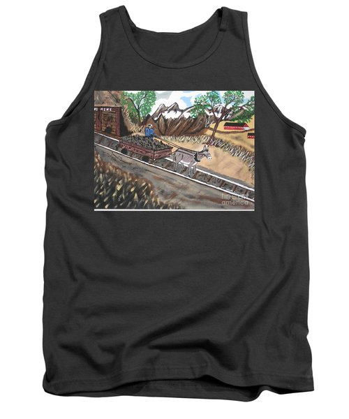 Tank Top featuring the painting Out Of The Dark And Into The Blue Coal Mine by Jeffrey Koss