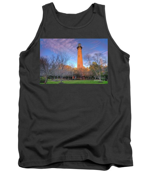 Outer Banks Winter At The Currituck Lighthouse Tank Top by Dan Carmichael